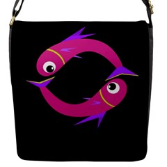 Magenta fishes Flap Messenger Bag (S)