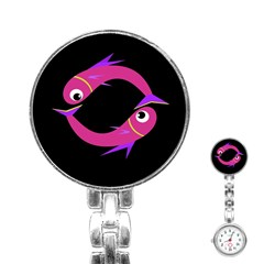 Magenta fishes Stainless Steel Nurses Watch