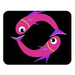 Magenta fishes Double Sided Flano Blanket (Large)