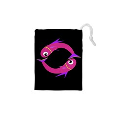 Magenta fishes Drawstring Pouches (XS)