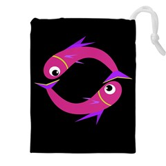 Magenta fishes Drawstring Pouches (XXL)