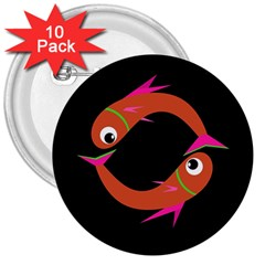 Orange fishes 3  Buttons (10 pack)
