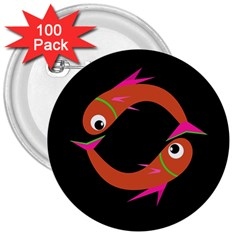 Orange fishes 3  Buttons (100 pack)