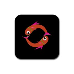 Orange fishes Rubber Square Coaster (4 pack)