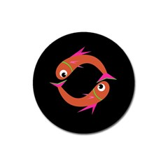 Orange fishes Magnet 3  (Round)