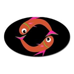 Orange fishes Oval Magnet