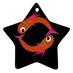 Orange fishes Star Ornament (Two Sides)