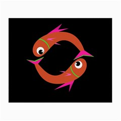 Orange fishes Small Glasses Cloth (2-Side)