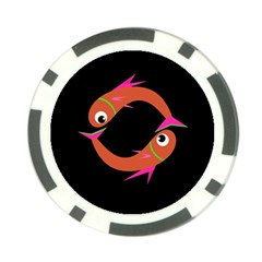 Orange fishes Poker Chip Card Guards