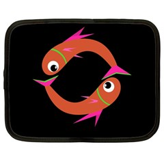 Orange fishes Netbook Case (Large)