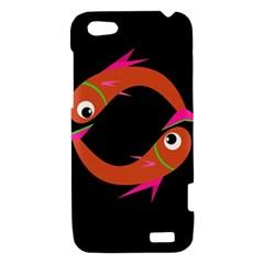 Orange fishes HTC One V Hardshell Case