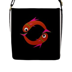Orange fishes Flap Messenger Bag (L)