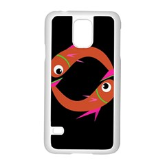 Orange fishes Samsung Galaxy S5 Case (White)