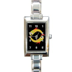Yellow fishes Rectangle Italian Charm Watch