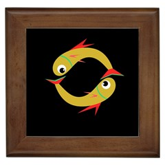 Yellow fishes Framed Tiles