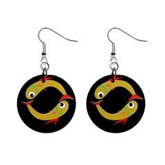 Yellow fishes Mini Button Earrings