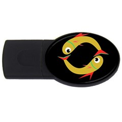 Yellow fishes USB Flash Drive Oval (1 GB)