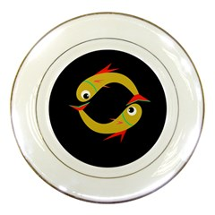 Yellow fishes Porcelain Plates