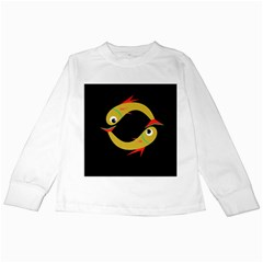 Yellow fishes Kids Long Sleeve T-Shirts