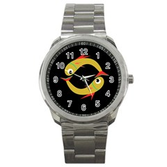 Yellow fishes Sport Metal Watch