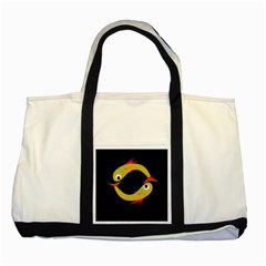 Yellow fishes Two Tone Tote Bag