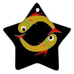 Yellow fishes Star Ornament (Two Sides)