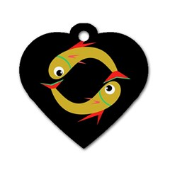 Yellow fishes Dog Tag Heart (Two Sides)