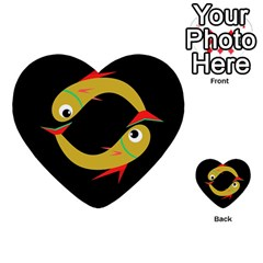 Yellow fishes Multi-purpose Cards (Heart)