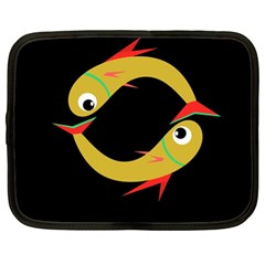 Yellow fishes Netbook Case (XL)