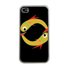 Yellow fishes Apple iPhone 4 Case (Clear)