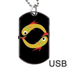 Yellow fishes Dog Tag USB Flash (One Side)