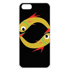 Yellow fishes Apple iPhone 5 Seamless Case (White)