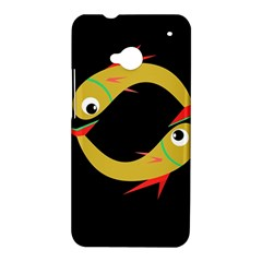 Yellow fishes HTC One M7 Hardshell Case