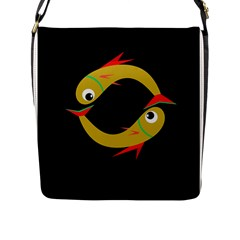 Yellow fishes Flap Messenger Bag (L)
