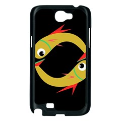 Yellow fishes Samsung Galaxy Note 2 Case (Black)