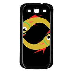 Yellow fishes Samsung Galaxy S3 Back Case (Black)