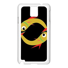 Yellow fishes Samsung Galaxy Note 3 N9005 Case (White)