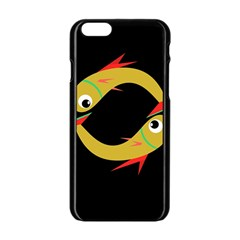 Yellow fishes Apple iPhone 6/6S Black Enamel Case