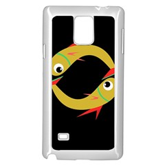 Yellow fishes Samsung Galaxy Note 4 Case (White)