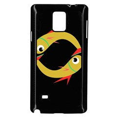 Yellow fishes Samsung Galaxy Note 4 Case (Black)