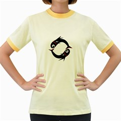 Black fishes Women s Fitted Ringer T-Shirts