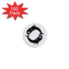 Black fishes 1  Mini Buttons (100 pack)