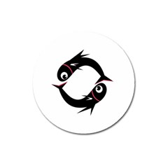 Black fishes Magnet 3  (Round)