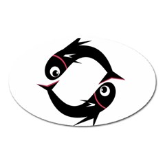 Black fishes Oval Magnet