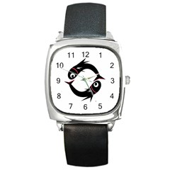 Black fishes Square Metal Watch