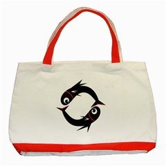 Black fishes Classic Tote Bag (Red)
