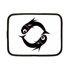 Black fishes Netbook Case (Small)