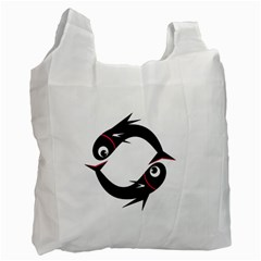 Black fishes Recycle Bag (One Side)