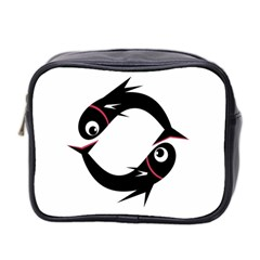 Black fishes Mini Toiletries Bag 2-Side