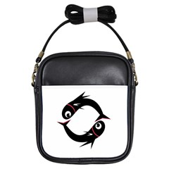 Black fishes Girls Sling Bags